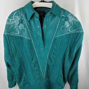 Power Suit Suzelle Teal Knit Leather Blazer Jacket